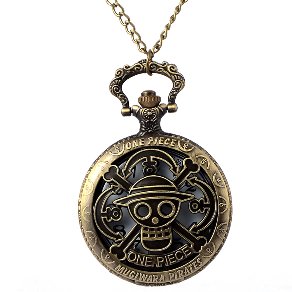 цена на Cindiry Vintage Bronze One Piece Steampunk Theme Skull Pattern Hollow Quartz Pocket Watch for Men Women Kids Gift Necklace