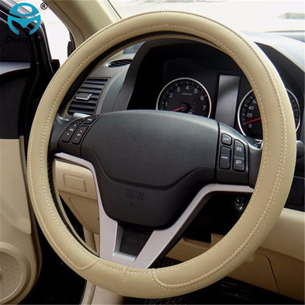 Il trasporto libero 1 pz Nero Grigio Beige PU Micro fibra di Copertura del Volante Dell'automobile 0907 per KIA, HYUNDAI, TOYOTA, HONDA, RIO; LADA