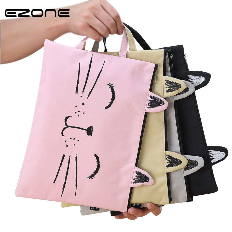 EZONE A4 Canvas File Bag File Folder Cute Cat Document Bag Paper Storage Bag Students Stationery Office School Supply