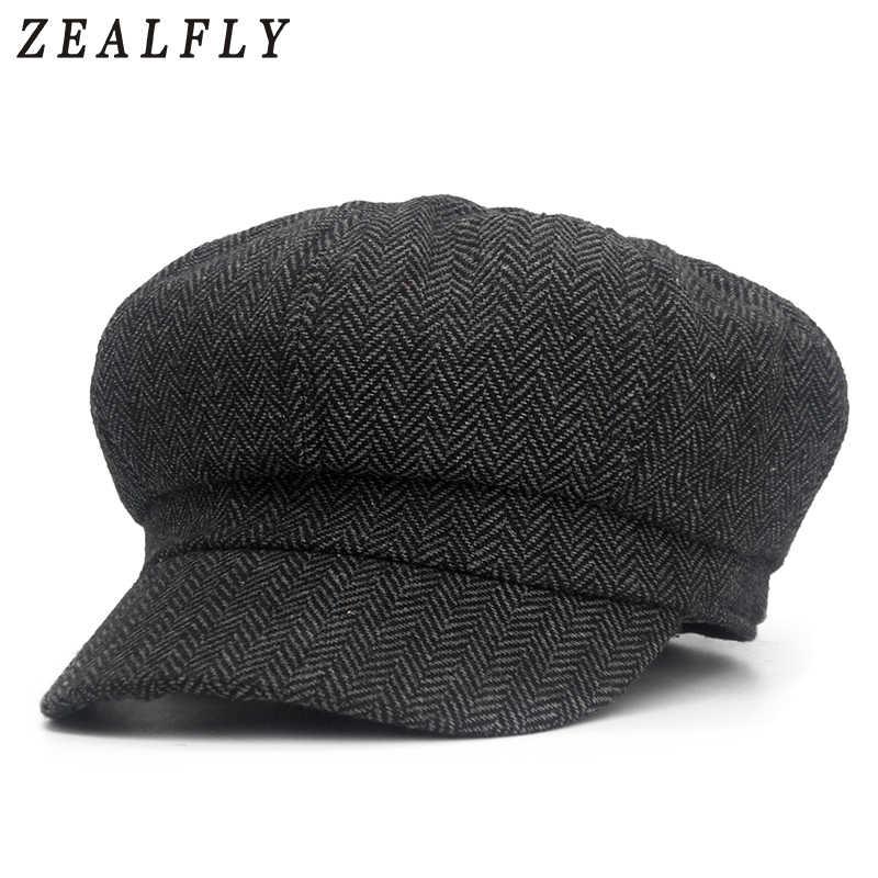 a1716b69f1d Octagon Herringbone Newsboy Cap Vintage Men Cotton Beret Casual Newsboy Hats  Cabbie Cap For Women Flat