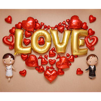 2017 Fashion Foil Balloons Package Valentine S Day LOVE Shap Red Heart Super Romantic Wedding Decoration