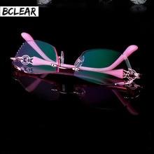 BCLEAR Великолепная Алмазный Обрезки Очки Без Оправы для Женщин Популярные Красивые Оптически Рамка и Объектив для Повелительницы 7102