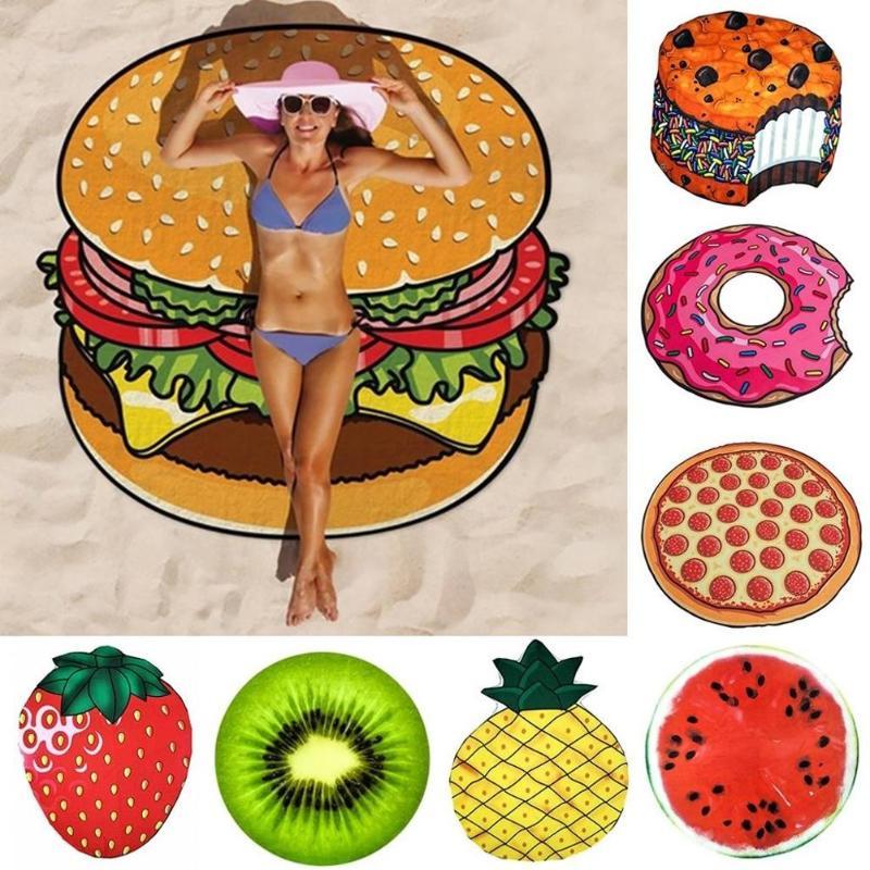 150x150cm Polyeater Beach Towel Tapestry Hamburger Fruit Print Picnic Mat Beach Blanket for Outdoor Hiking Travel Camping Mat
