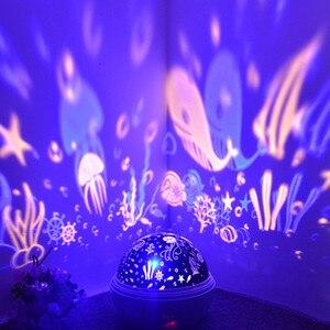 Image 2 - JUSOCCO proyector de luz nocturna giratoria para niños y bebés, lámpara de proyección Led USB romántica para dormir