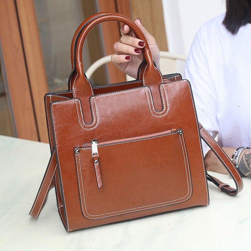 Zency duża pojemność kobiety torebka na ramię 100% prawdziwej skóry w stylu Vintage Lady torby listonoszki tornister czarny brązowy w Torby z uchwytem od Bagaże i torby na  Grupa 3