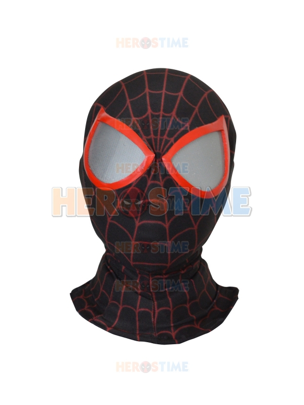 3D Printing Ultimate Miles Morales Spiderman Hood with lenses free shipping