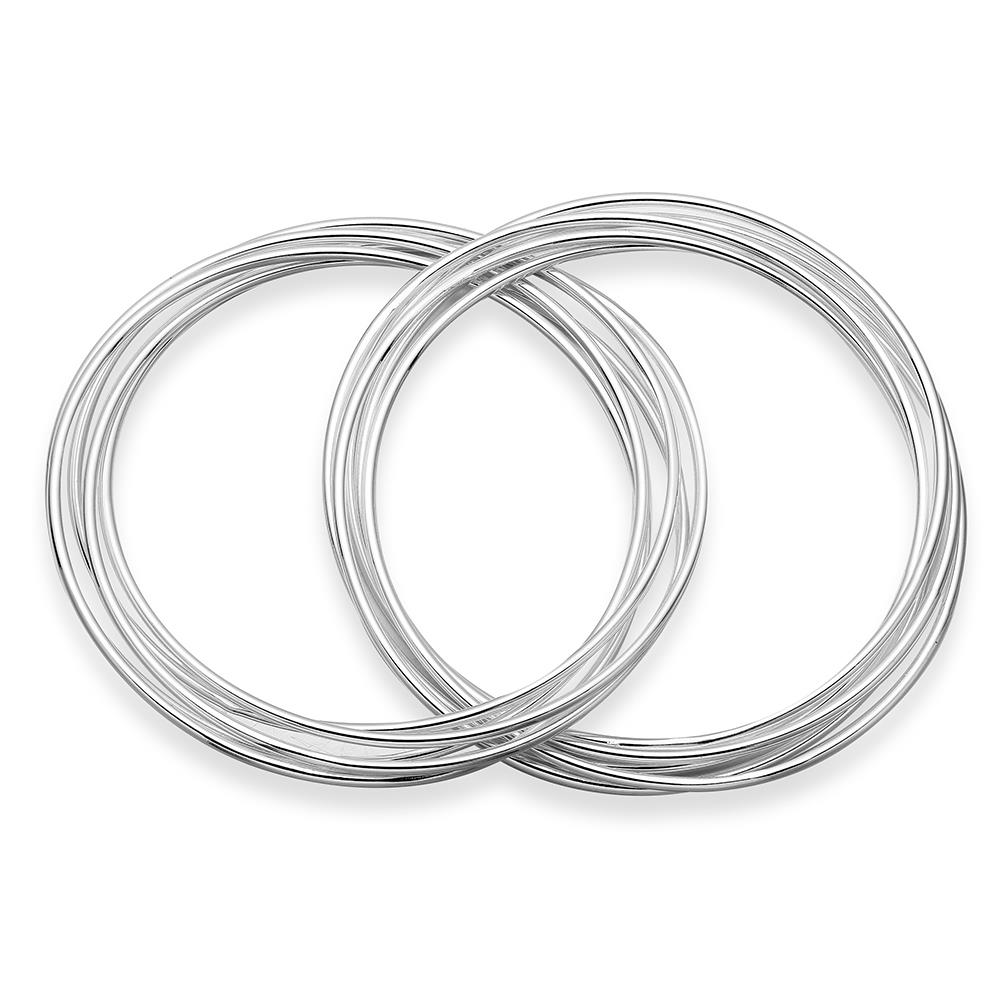 Silver Color Circles Round Ring Hard Bracelets & Bangles Elegant Chain Link Bracelet For Women Fine Jewelry