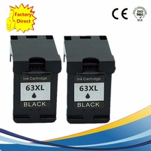 2 Pack 63 XL 63XL Black Ink Cartridges For HP HP63 HP63XL Officejet 3830 4650 4652 4652 ENVY 4516 4512 4520 4522 Inkjet Printer 6pk for hp envy 4520 officejet 4650 inkjet printer for hp 63 63xl ink cartridge free shipping hot sale