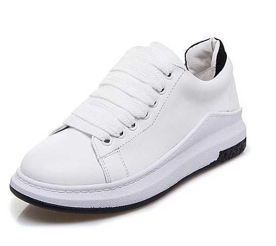 2017 Nova Plataforma Sapatos de Couro Lace-up de Couro de Vaca Sapatos Rasos Mulheres Casuais Sapatilha Feminina Chaussure Femme Zapatos Mujer