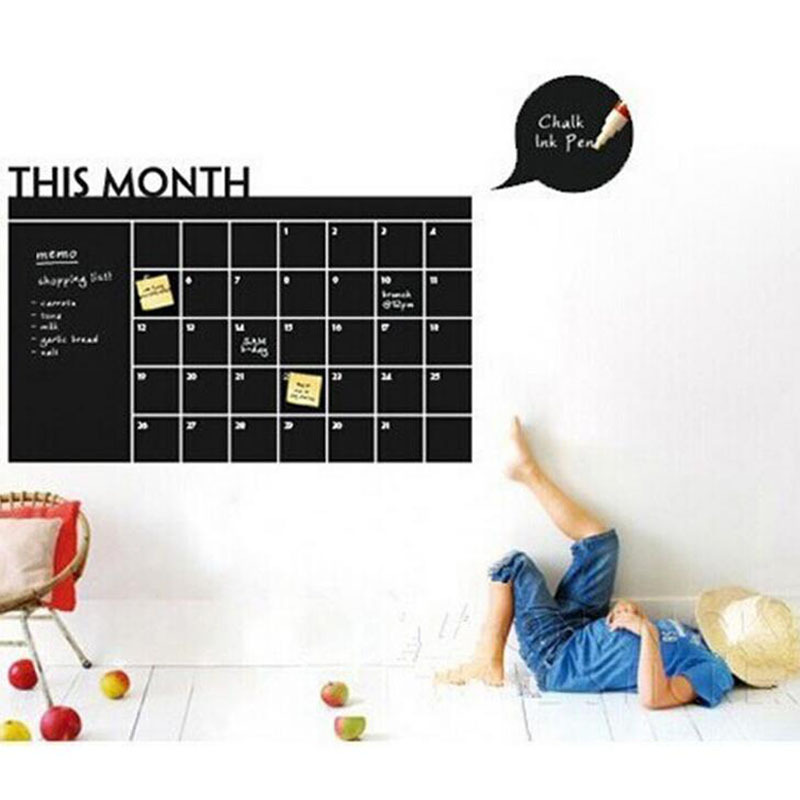 Office Time Table PVC Wall Decals Black Board Sticker Removable Adhesive Kids Room Wall Sticker Draw Decals Chalk Board