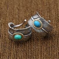 Silver 925 Feather Ring Men Women With Blue Green Teurquoise Stone 100 Real Sterling Silver 925