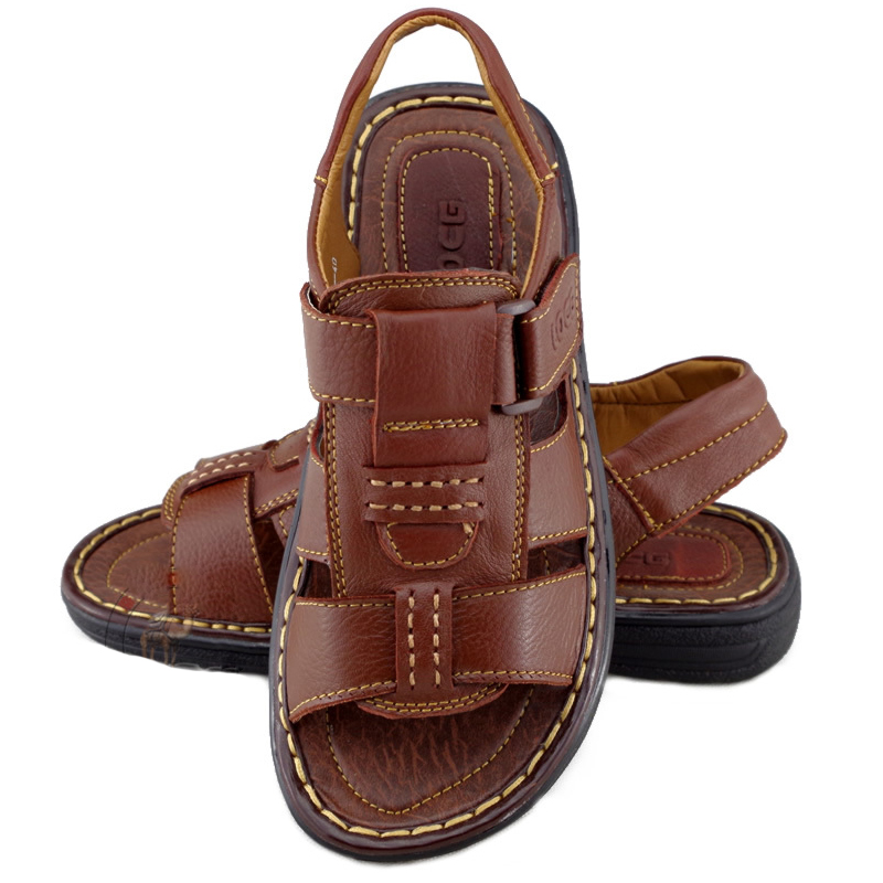 free shipping new 2014 summer High quality fashion Casual Genuine Leather sandals men shoes male cowhide