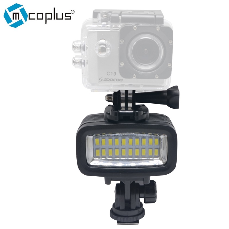все цены на Mcoplus 20pcs LED Waterproof Video Light Underwater 40m Diving Lamp for Gopro DV Camera HTC XIAOYI SJ5000 SJ6000 & Action Camera