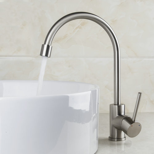 Brushed Nickel Swivel Two Spouts Kitchen Faucet Single Handle Deck Mount Polished Hot Cold Mixer Brass