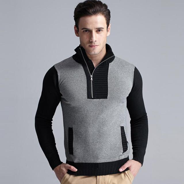 2016 nova moda camisola de malha homens pulôver de abertura de cama de manga Comprida Malhas casaco camisola magro casual roupas masculinas da marca