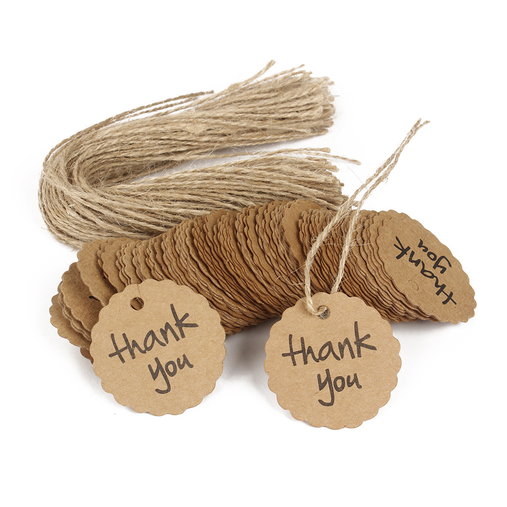 100PCS Kraft Paper Tags Handmade&Thank You Head Label Luggage DIY Christmas/Wedding Party Accessories Hang Tag Kraft Gifts