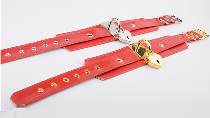 Oversized Handmade BDSM Bondage Leather Necklace For Women Lovely Lockable Heart Collar Wholesale Sexy Pastel Gothic Choker Punk 7