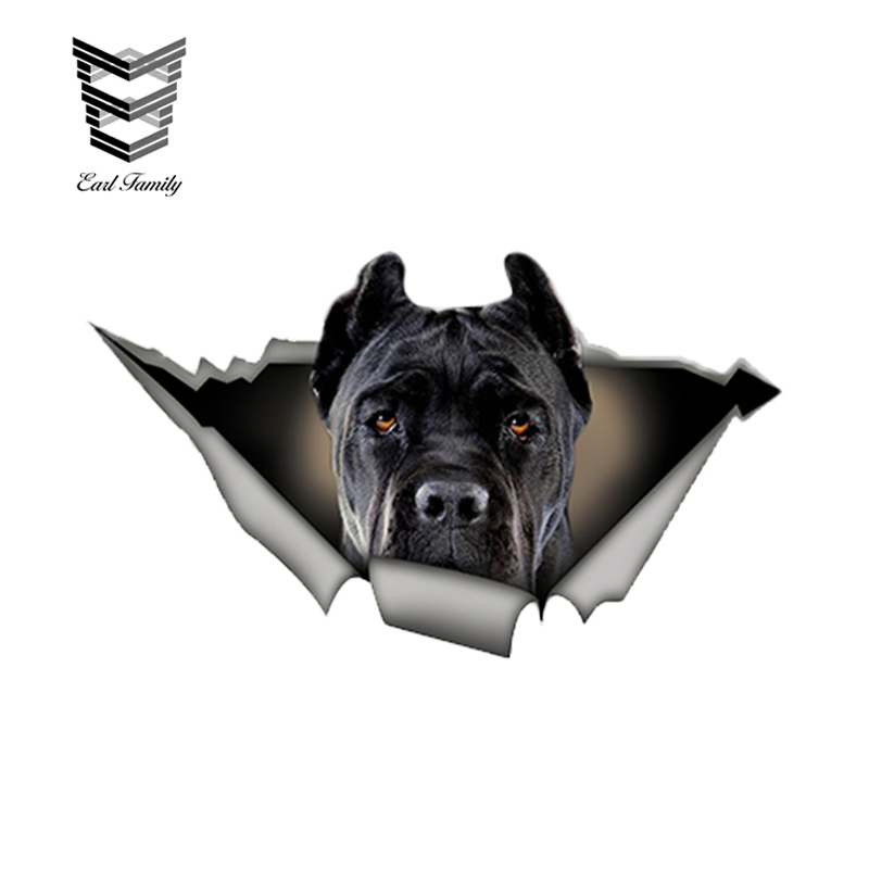 EARLFAMILY 13cm X 7.6cm Black Cane Corso Car Sticker Torn Metal Decal Reflective Stickers Waterproof Car Styling Pet Dog Decals