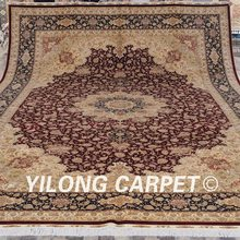 Yilong 12'x18′ Promotion Price! 2017 New Natural Silk Best Handmade Rug Red Persian Carpet (LH147A12x18)