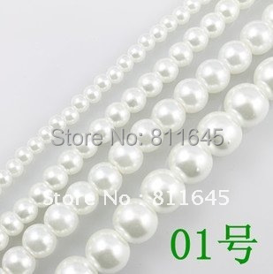 Wholesale 4mm/6mm/8mm/10mm/12mm White Loose Pearl Beads,have hole Round Glass Beads, Spacer Bead,DIY jewelry Making Accessory wholesale green color 5000 crystal glass beads loose round stones spacer for jewelry garment 4mm 6mm 8mm 10mm