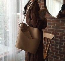 Bolso de cubo de piel sintética de gran capacidad para mujer, bandolera vintage, informal, a la moda, qici892