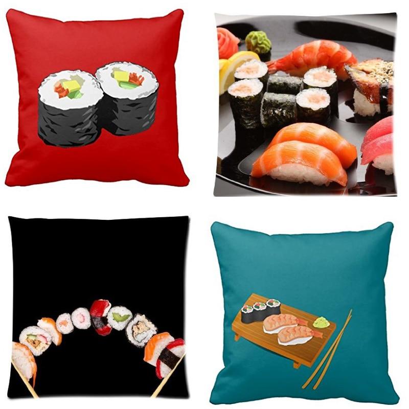 babaite divertido janpanese comida chic artes partido rollos de sushi sashimi con cremallera throw soft funda