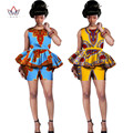 Two Piece Set Women New Designs Shorts and Top Dashiki African Print Women Set Summer Plus Size African Women Clothing WY542