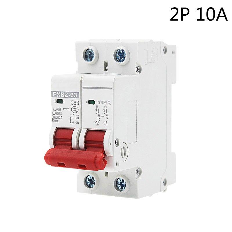 FXBZ-63 2 P 10A DC 500 V Solor Circuit disjoncteur MCB 2 Pôles C63 DC Circuit disjoncteur POUR PV Système Disjoncteurs