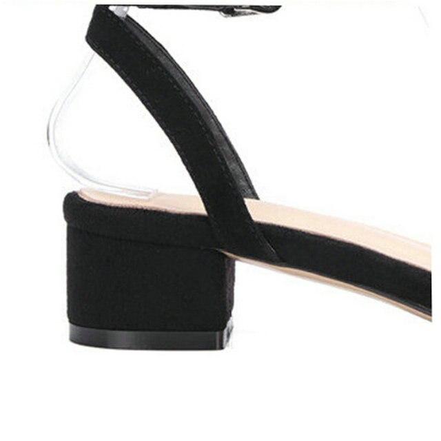 QUTAA 2017 Women Sandals Square Med Heel Platform Women Shoes Kid Suede Ankle Strap Black Ladies Wedding Shoes Size 34-40