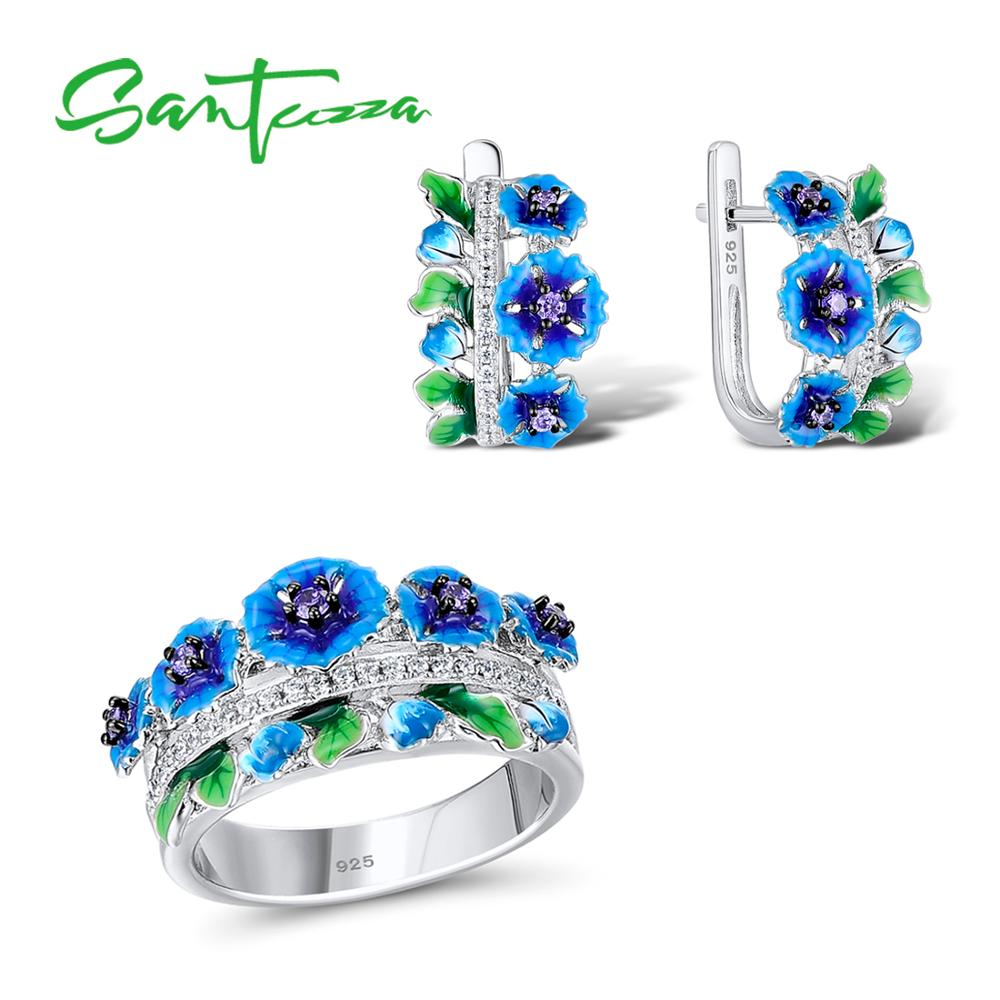 Santuzza Jewelry Set HANDMADE Enamel Blue Flower Dark Purple CZ Stones Ring Earrings 925 Sterling Silver