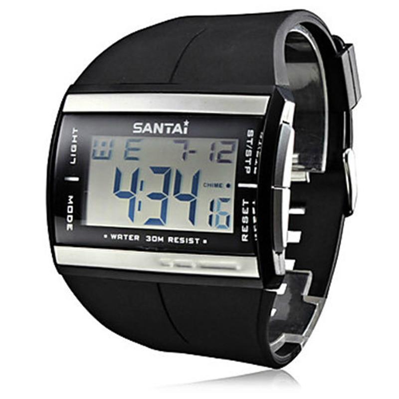 Electronic Watches Waterproof Fashion Sport LCD Digital Watch SanTai Rubber Strap Quartz Watch Men Wristwatch Dropshipping|mens wooden watch|watch it pocket watch|men - title=