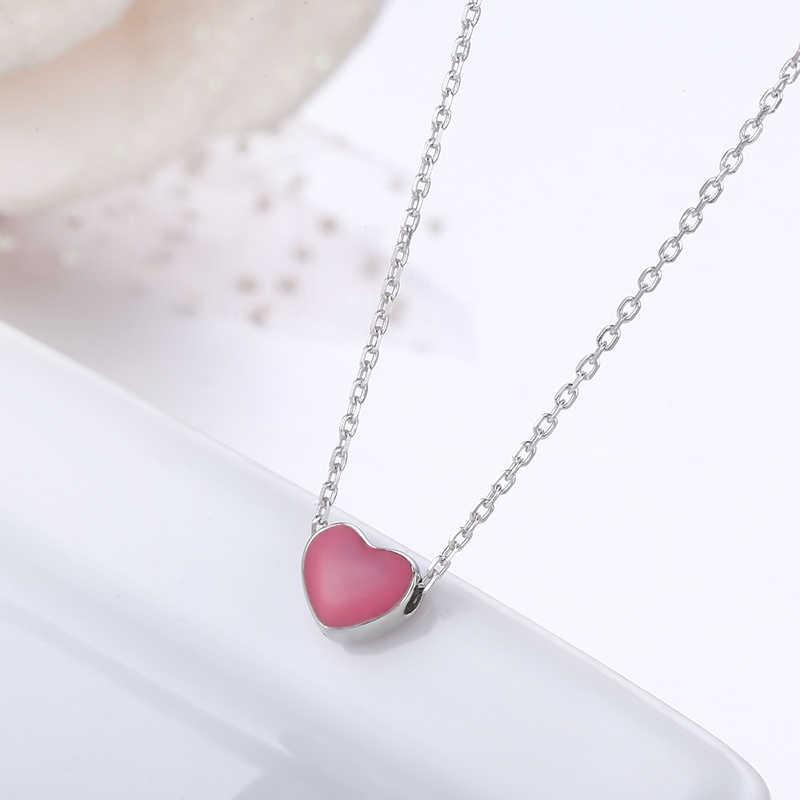 e1f0b5fbfbffa Slim Tiny Cute Small Pink Heart Charm Pendant 925 Sterling Silver Short  Cross Chain Choker Necklace Women Girls Jewelry Bijoux