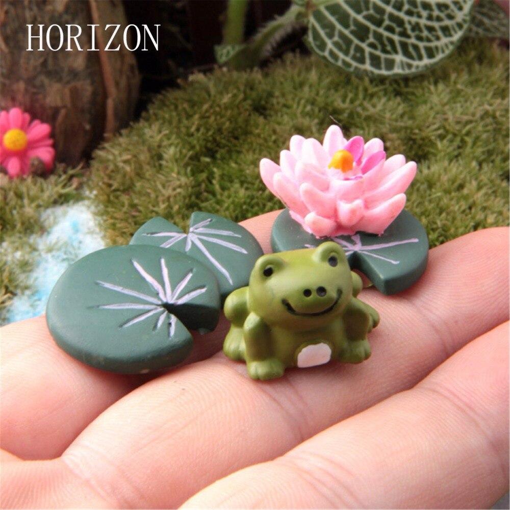 Hot Magic Fairy Garden Miniatures Cute Cartoon Anime Artificial Frog & Lotus Leaf & Flower Micro Landscape DIY Crafts 3Pcs