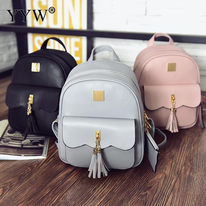 YYW Tassels-Backpack Women Purse 2pac-Bags-Set Shoulder-Bags Casual Solid For Softbag
