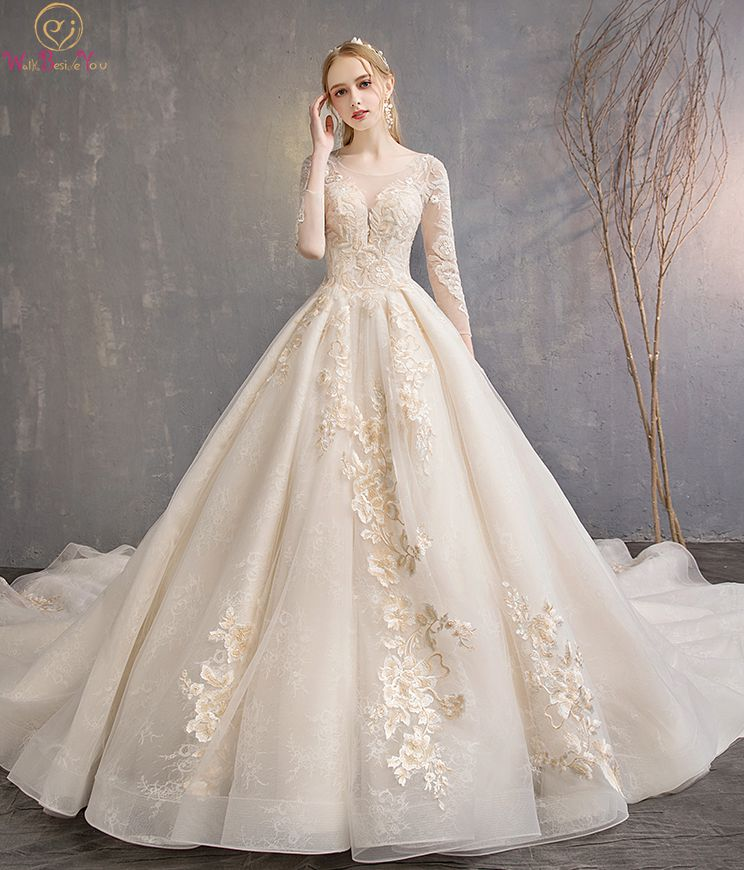 Walk Beside You Champagne Wedding Dresses Lace Applique Beaded Ball Gown Cathedral Train Three Quarter Sleeves