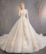 ללכת לצד אתה שמפניה חתונת שמלות תחרת Applique חרוזים כדור שמלת קתדרלת רכבת שלושה רובע שרוולי כלה שמלות ארוך