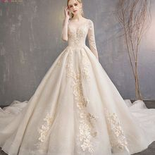 Ball-Gown Wedding-Dresses Beaded Champagne Cathedral Train Quarter-Sleeves Applique Lace