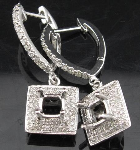 Promotion 4 0mm Princess Cut 14ct White Gold 0 52ct Diamond Semi Mount Earrings Setting