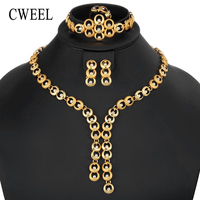 CWEEL Jewelry Sets Dubai Gold Color Jewelry Sets For Women Bride African Beads Jewelry Set Costume