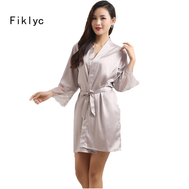 Fiklyc brand mid-sleeve sexy women nightwear robes M L XL XXL lace faux silk  female bathrobes bridesmaids robes for wedding hot 960f28d92