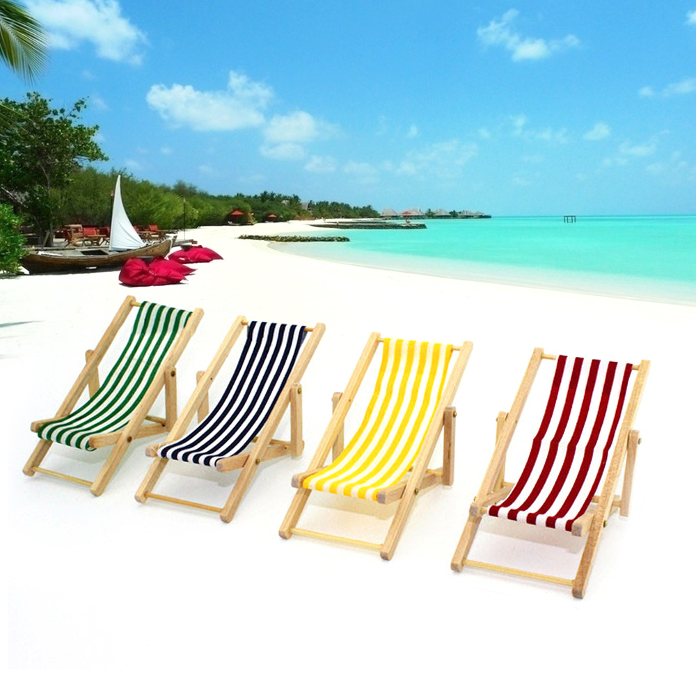 1:12 Mini Doll Foldable Wooden Stripe Beach Chair Recliner Sunbathing Lounge Chaise Chair Dollhouse Furniture For Barbie Toy