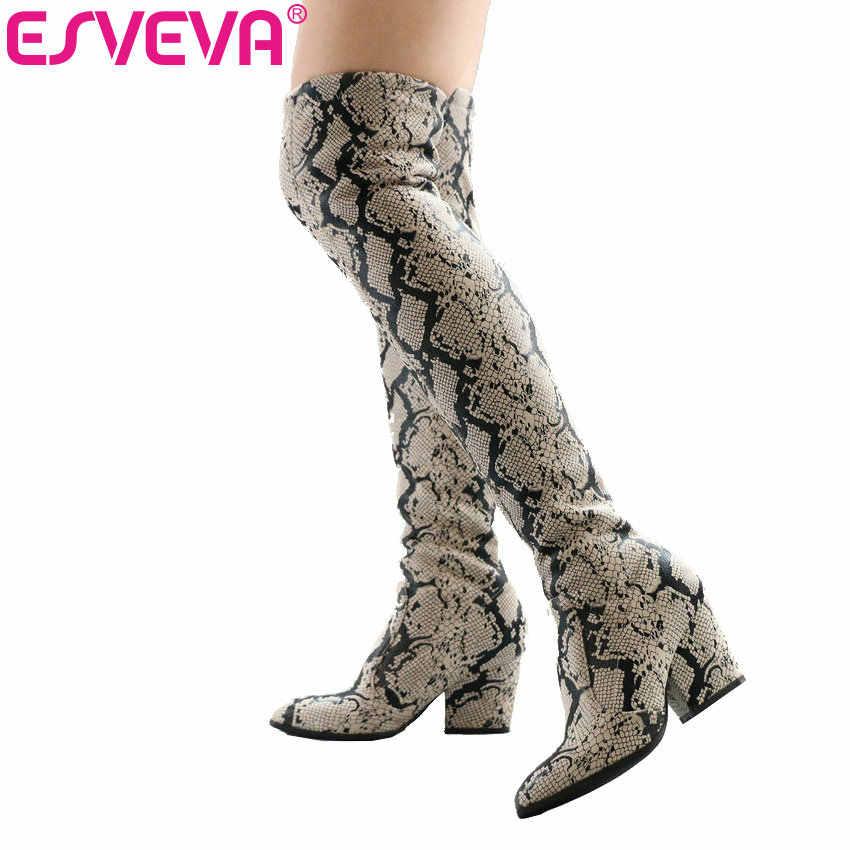 ESVEVA 2020 Kadın Motosiklet Botları Streç Kumaşlar Üzerinde Diz Çizmeler Sivri Burun Çizgili Yüksek Topuklu Bayan Ayakkabı Boyutu 34 -43