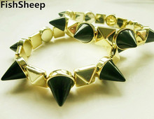 FishSheep Punk Acrylic Spike Bracelets Women Elastic Gold Color Studs Black Rivets Cuff Bracelet & Bangles Jewelry Gift