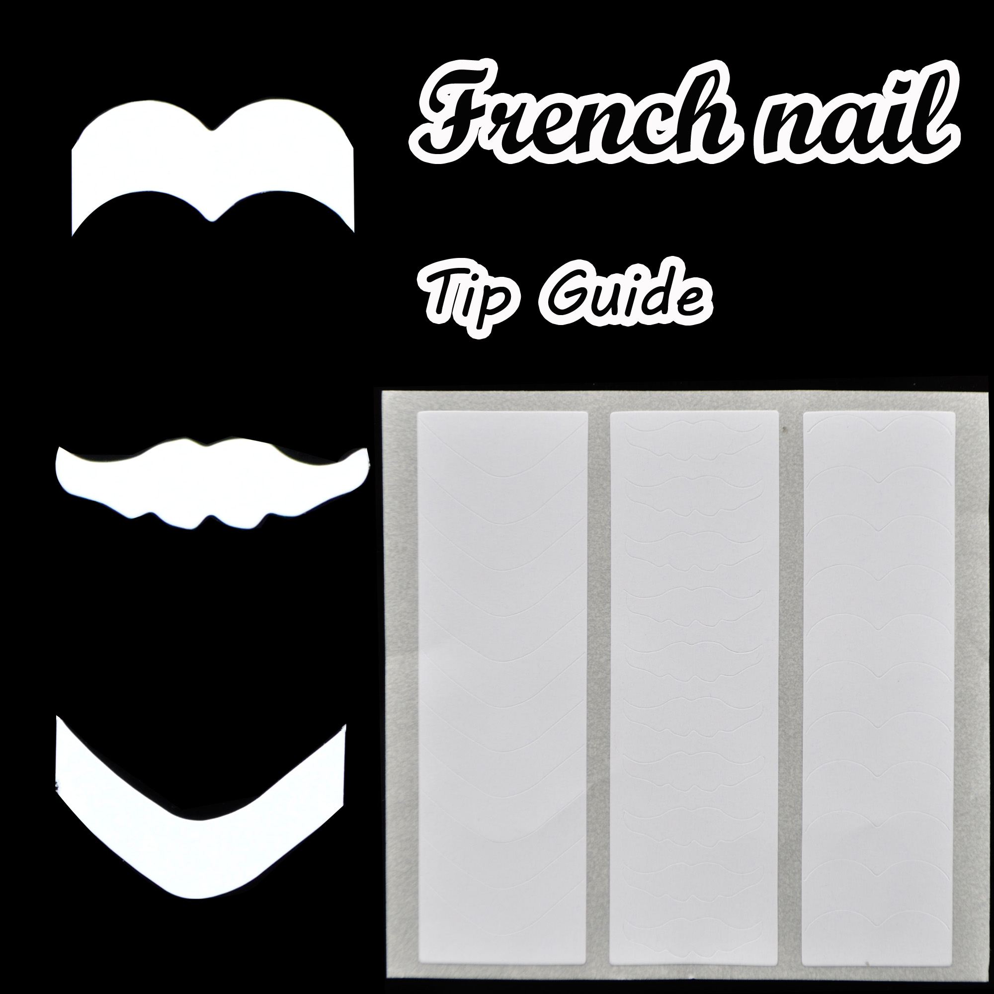 French Nail Art Tip Guides Sticker V,Beard,Book 3 Style Guides DIY ...