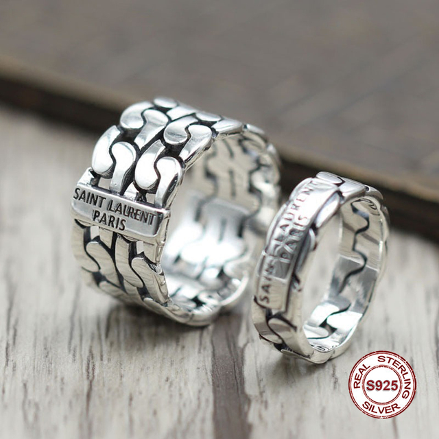 11ce7b0fc8e5 s925 sterling silver men ring The trend of personality prepared by the  closed ring Punk wind to do the old style Send a gift