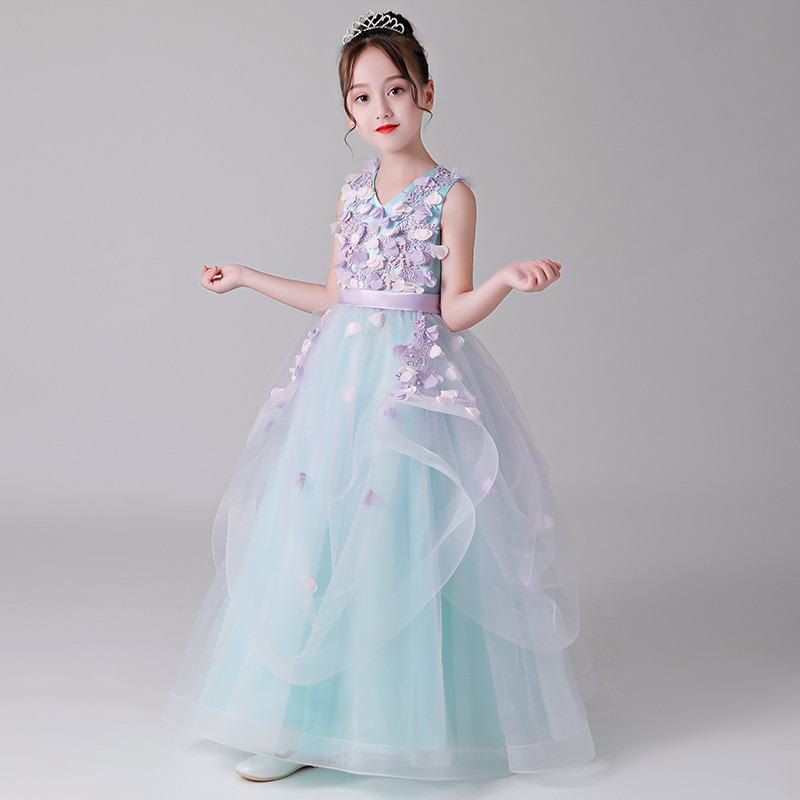 2019 Kids Girl Lace Appliques Wedding Party Dress Children Pearls Tulle Princess Prom Gown Baby Girl First Communion Dress Q6482019 Kids Girl Lace Appliques Wedding Party Dress Children Pearls Tulle Princess Prom Gown Baby Girl First Communion Dress Q648