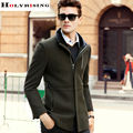 Autumn Winter Leisure Men Wool Coats Long Stand Collar Solid Jackets Mens Slim Zipper Overcoat Male Clothing 3 Colour Holyrising