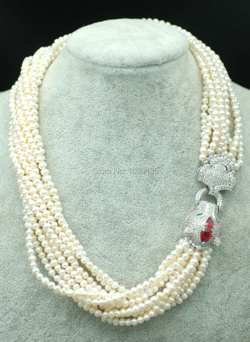 10rows freshwater pearl near round 4-5mm nature beads wholesale 19inch necklace red leopard wholesale 1 4 2v3a