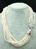 10rows freshwater pearl near round 4 5mm nature beads wholesale 19inch necklace red leopard