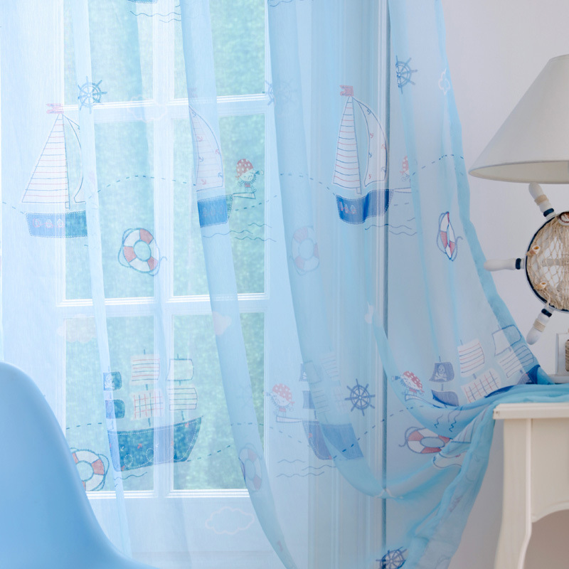 2017 New Blue Boat Children Curtains Kids Baby Room Window Curtains for Living Room Bedroom Home Decor Ready Made Cheap